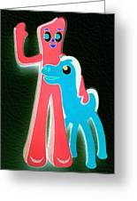 Gumby And Pokey B F F Negative Greeting Card