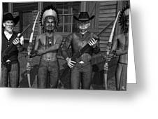 Gunfight At The Okey Dokey Corral - Black And White Greeting Card