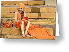 Guru On Ganges Greeting Card