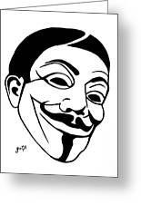 Guy Fawkes Face Original Pop Art Painting Greeting Card