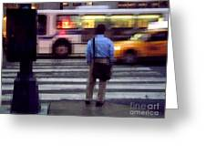 Crossing The Street - Traffic Greeting Card