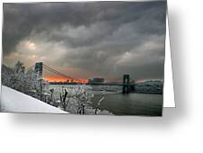 Gw Bridge In Winter Sunset Greeting Card