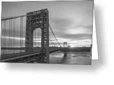 Gw Bridge Le Wide Crop Bw Greeting Card