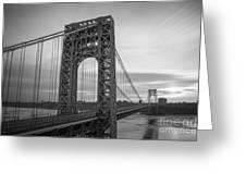 Gw Bridge Winter Sunrise Greeting Card