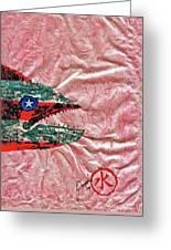 Gyotaku- 4th July - Spanish Mackerel- Bubble Gum Pink Greeting Card by Jeffrey Canha