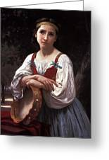 Gypsy Girl With A Basque Drum Greeting Card