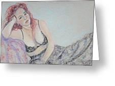 Gypsy Spirit Woman Pondering Greeting Card by Asha Carolyn Young