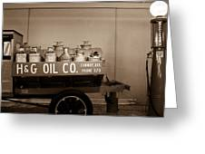 H And G Oil Company In Sepia Greeting Card