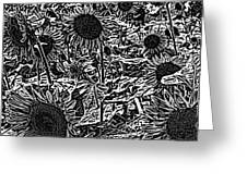 H2 Sunflowers Map Bw Greeting Card