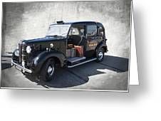 Hackney Carriage Austin Fx3 Of London C. 1955 Greeting Card