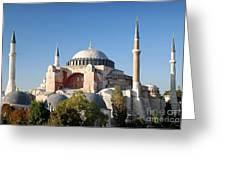 Hagia Sophia Mosque Landmark In Instanbul Turkey Greeting Card