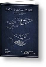 Hair Straightener Patent From 1909 - Navy Blue Greeting Card