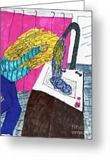 Hair Wash Greeting Card by Elinor Rakowski