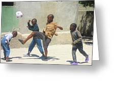 Haitian Boys Playing Soccer Greeting Card