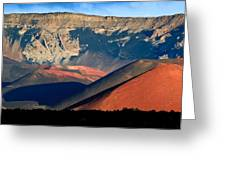 Haleakala Cinder Cones Lit From The Sunrise Within The Crater Greeting Card