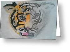 Half And Half Tiger Greeting Card by Kendya Battle