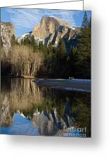 Half Dome And Cottonwoods Reflected In Merced River  Greeting Card