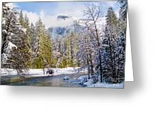 Half Dome And The Merced River Greeting Card by Bill Gallagher