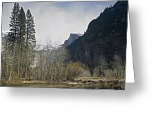 Half Dome And The Merced River In Winter Greeting Card