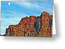 Half Moon Over Zion National Park-utah Greeting Card