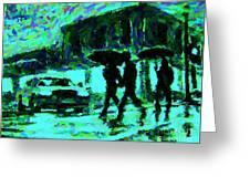 Halifax On A Rainy Night Greeting Card