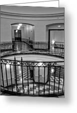 Hall And Stairs In Black And White Greeting Card