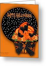 Halloween Black Cat Cupcake 2 Greeting Card