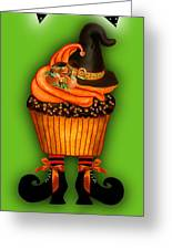 Halloween Cupcakes - Green Greeting Card
