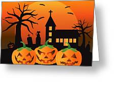 Halloween Jack O Lantern Pumpkins Illustration Greeting Card