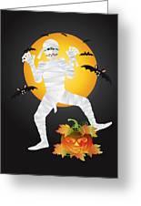 Halloween Mummy Carved Pumpkin Illustration Greeting Card