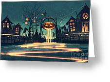 Halloween Night With Pumpkin And Greeting Card