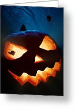 Halloween Pumpkin And Spiders Greeting Card