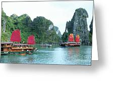 Halong Bay Sails 04 Greeting Card