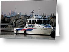 Halton Police Boat And Cn Tower Greeting Card