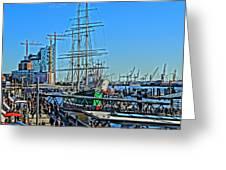Hamburg Germany Sail Boat With Elbphilharmonie Greeting Card