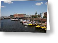 Hamburg Port With Fleet  Greeting Card