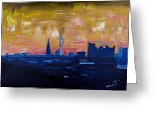 Hamburg Skyline At Dusk With Elbe Philharmonic Hall Greeting Card