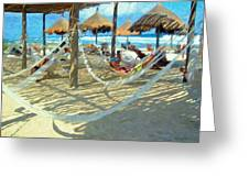 Hammocks And Palapas - Xel-ha Mexico Greeting Card
