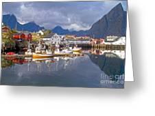 Hamnoy Fishing Village On Lofoten Islands Greeting Card