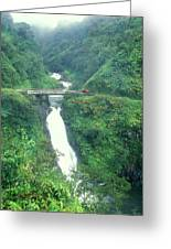 Hana Highway Waterfall Maui Hawaii Greeting Card