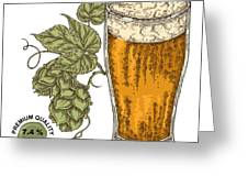 Hand Drawn Beer Glass With Hops Plant Greeting Card