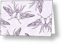 Hand Drawn Beetles Seamless Pattern Greeting Card
