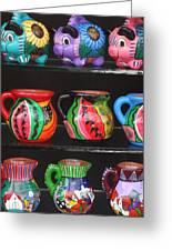 Hand Painted Ceramics Playa Del Carmen Mexico Greeting Card