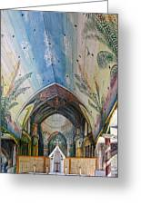 Hand Painted Church Interior Greeting Card by Linda Phelps