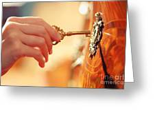 Hand With Key Greeting Card by Konstantin Sutyagin