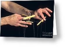 Hands Of A Puppeteer Greeting Card by Bernard Jaubert