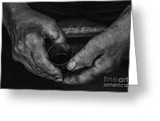 Hands Of An Worker Greeting Card