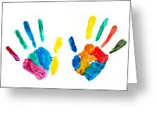 Hands Painted Stamped On Paper Greeting Card