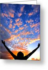 Hands Up To The Sky Showing Happiness Greeting Card by Michal Bednarek