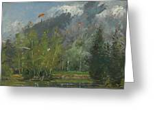 Hang Gliders At Chamonix, 2007 Oil On Canvas Greeting Card